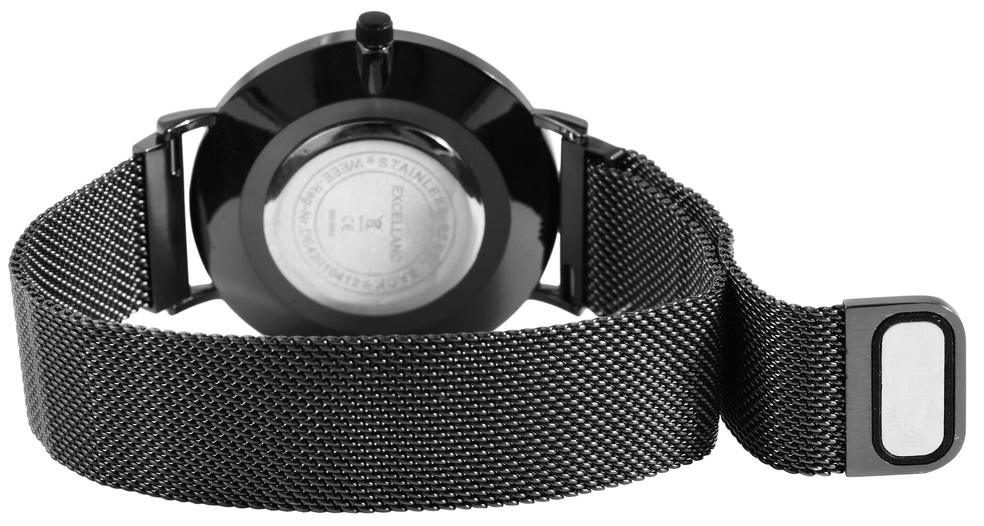 Herren Armbanduhr Mesharmband analog Uhr schwarz blau