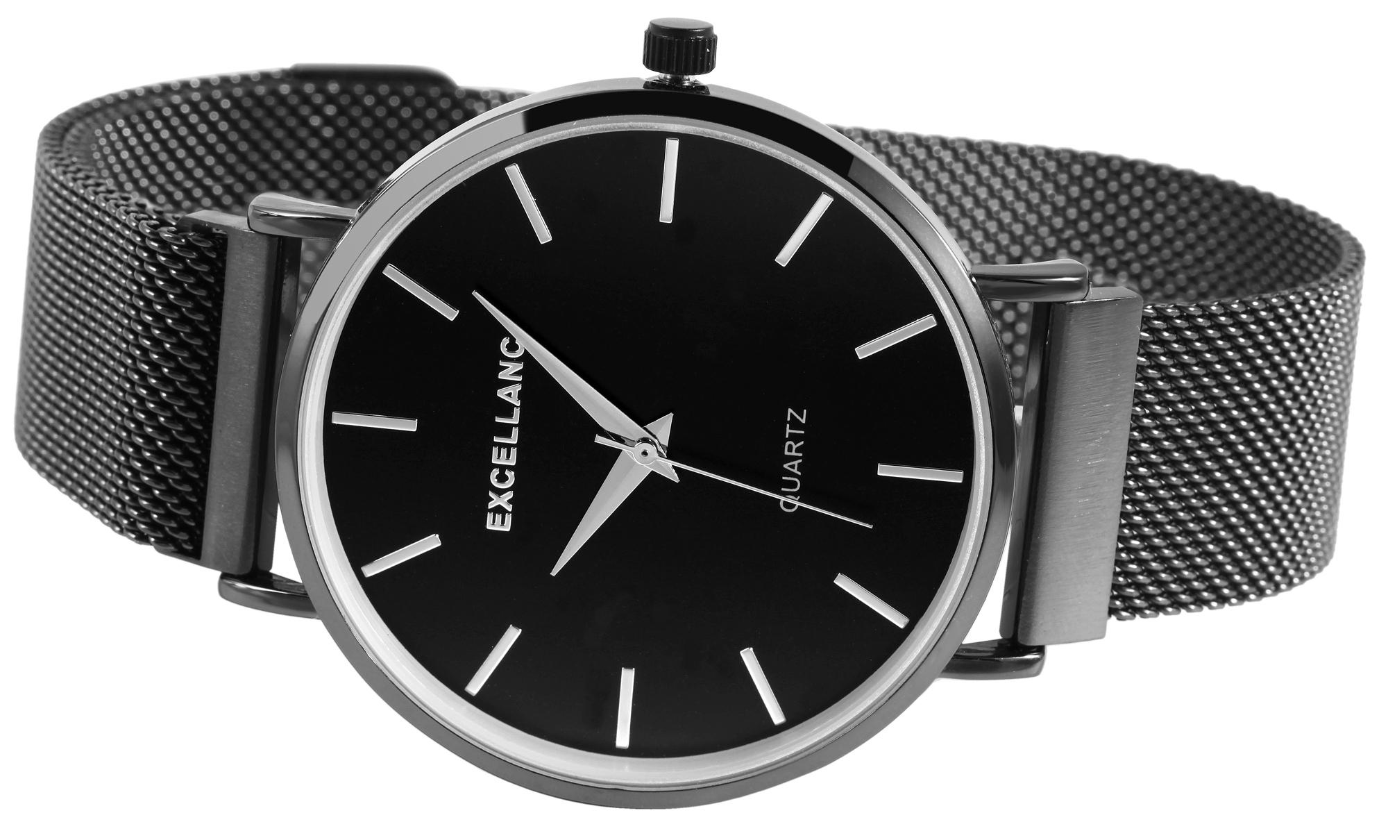 Herren Armbanduhr Mesharmband analog Uhr schwarz