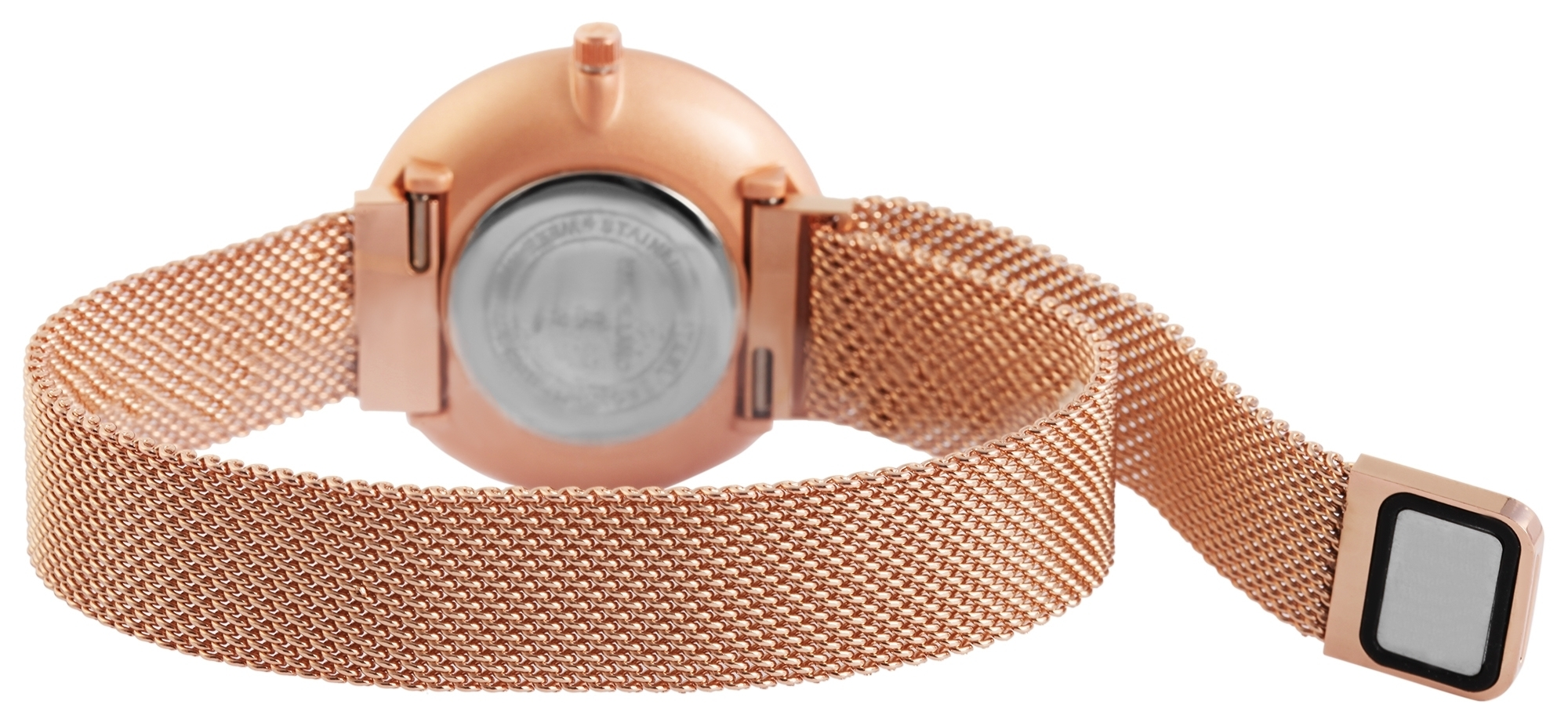 Damenuhr Excellanc Armbanduhr Meshband Magnetverschluss rose weiss