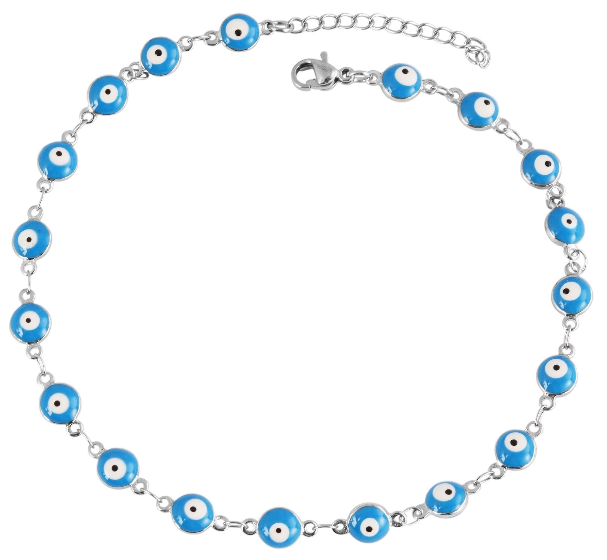 Fußkettchen Türkisches Auge 24 cm Akzent Fußkette blau