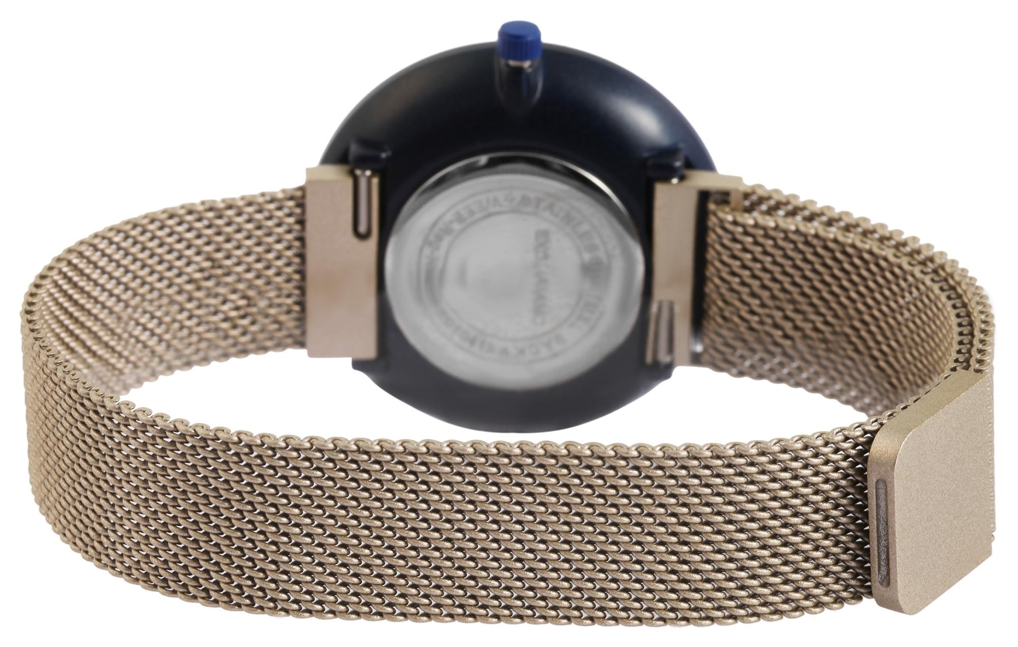 Damenuhr Excellanc Armbanduhr Meshband Magnetverschluss Beige